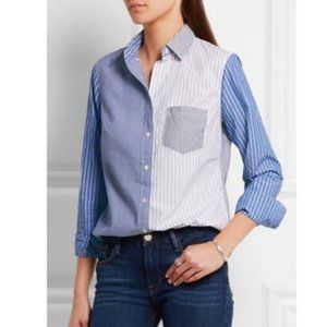 J. Crew 8 Cocktail Shirt Blue Striped Blouse F4011